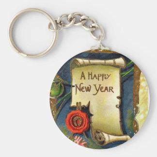 Voluta de la Feliz Año Nuevo Llavero Redondo Tipo Pin