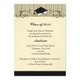 Voluta de la graduación - invitación de la invitación 12,7 x 17,8 cm