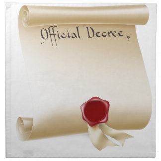Voluta del decreto oficial con el sello rojo de la servilleta