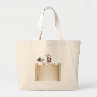 Voluta del menú del cocinero del dibujo animado bolsas lienzo