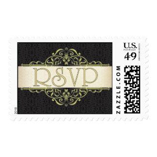 Voluta del oro con el sello negro de RSVP
