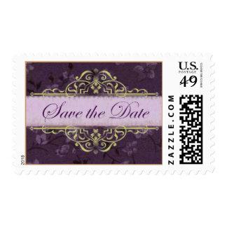 Voluta del oro con reserva floral del ciruelo el timbres postales