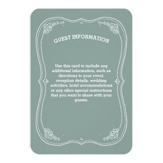 Voluta del vintage en la información verde de la invitación 8,9 x 12,7 cm