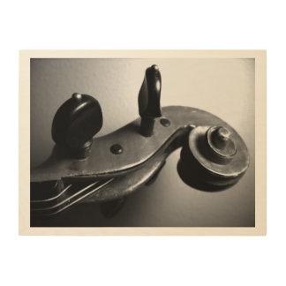 Voluta del violín en la lona de madera impresiones en madera