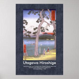 Voluta Hiroshige Fuji visto en la izquierda del Póster