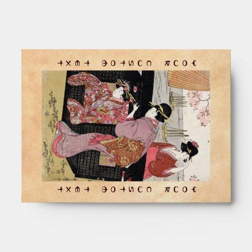 Voluta japonesa fresca de la señora del geisha del