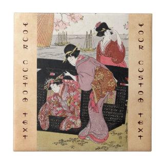 Voluta japonesa fresca de la señora del geisha del azulejos cerámicos