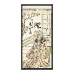 Voluta japonesa fresca de la señora del geisha del impresion de lienzo