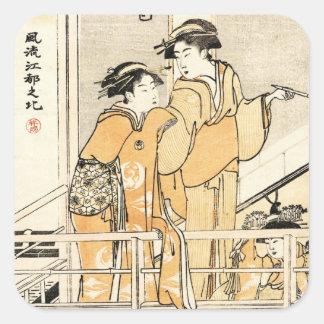 Voluta japonesa fresca de los geishas del ukiyo-e pegatina cuadrada