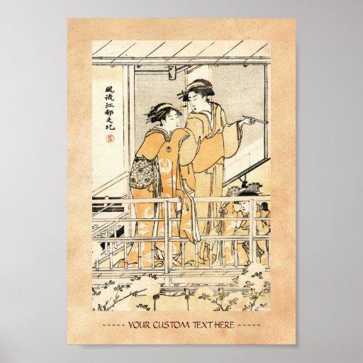 Voluta japonesa fresca de los geishas del ukiyo-e póster