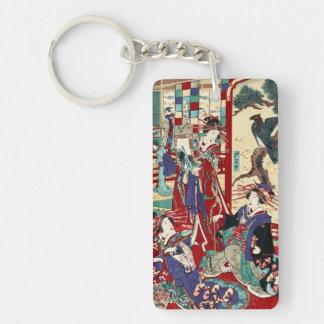 Voluta japonesa fresca del geisha del trío del llavero rectangular acrílico a doble cara