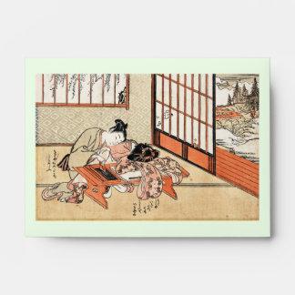 Voluta japonesa fresca del geisha del ukiyo-e del