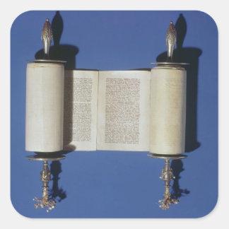 Voluta miniatura de Torah, 1765 Pegatina Cuadrada