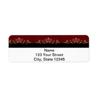 Voluta negra y roja del oro del damasco etiqueta de remitente