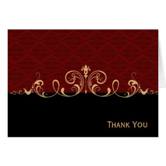 Voluta negra y roja del oro del damasco tarjeta pequeña