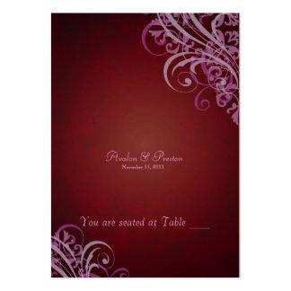 Voluta roja y rosada barroca exquisita Placecard Plantilla De Tarjeta Personal