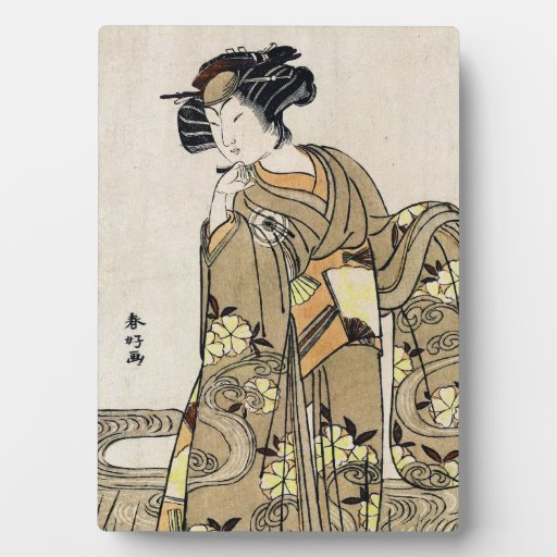 Voluta vieja del ukiyo-e del geisha japonés fresco placas de madera