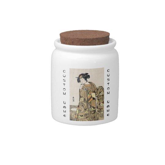 Voluta vieja del ukiyo-e del geisha japonés fresco plato para caramelo