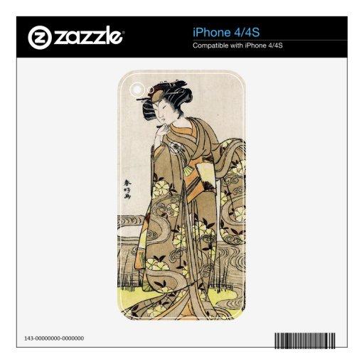 Voluta vieja del ukiyo-e del geisha japonés fresco calcomanía para el iPhone 4S
