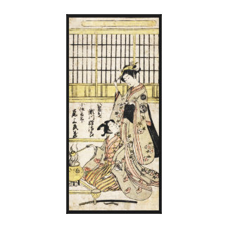 Voluta vieja del vintage del geisha japonés fresco impresión en lienzo