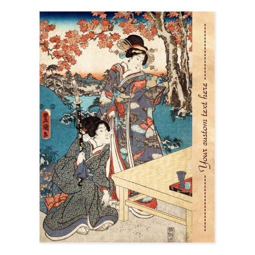 Voluta vieja del vintage del geisha japonés fresco postal