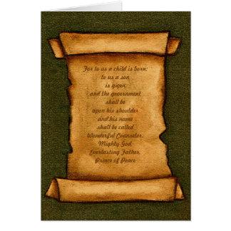 Voluta vieja: Escritura, biblia: Isaías, navidad Tarjetas