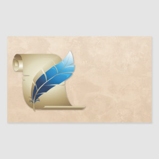 Voluta y canilla del pergamino pegatina rectangular