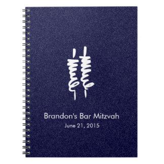Volutas blancas de Mitzvah Torah de la barra en Libros De Apuntes