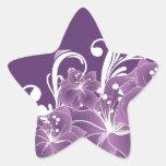 Volutas blancas florales púrpuras colcomanias forma de estrella personalizadas