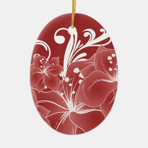 Volutas blancas florales rojas adorno navideño ovalado de cerámica