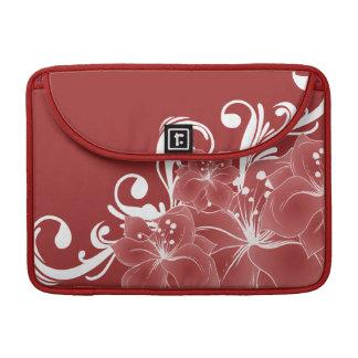 Volutas blancas florales rojas funda para macbooks