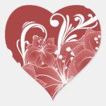Volutas blancas florales rojas pegatinas corazon personalizadas