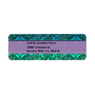 Volutas delicadas de la lavanda del verde azul etiqueta de remite