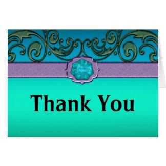Volutas delicadas de la lavanda del verde azul tarjeta de felicitación
