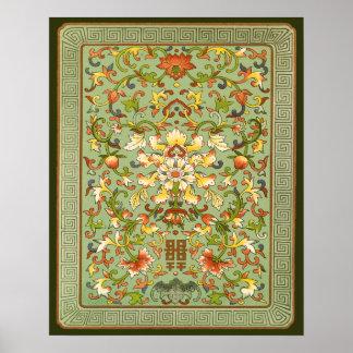 Volutas florales chinas del Peony en el jade Posters