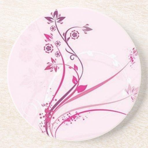 Volutas � flores sobre motivo rosado - posavasos personalizados