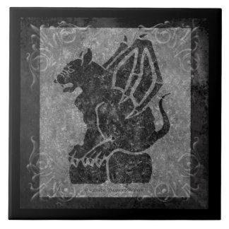 Volutas negras del gris del Gargoyle Azulejo Cuadrado Grande