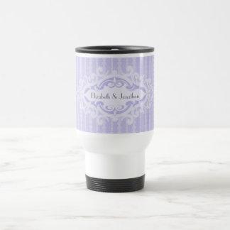 Volutas púrpuras y el casarse de las cintas taza de viaje