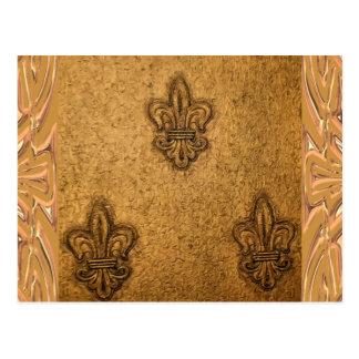 Volutas texturizadas flor de lis francesa elegante postal