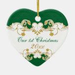 Volutas verdes del oro blanco, 1r navidad de los t adorno