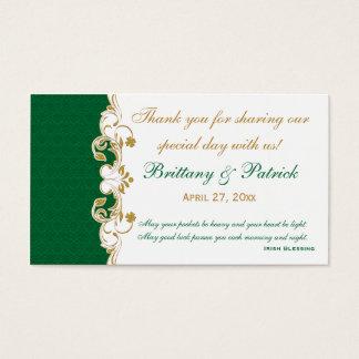 Volutas verdes del oro blanco, etiqueta del favor tarjetas de visita