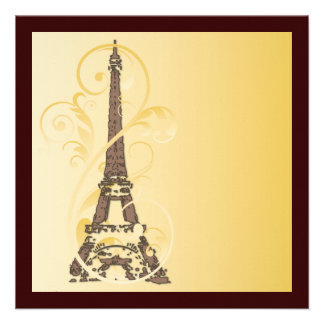 Volutas y torre Eiffel de oro Invitación Personalizada