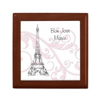Volutas y torre Eiffel - rosa Joyero Cuadrado Pequeño