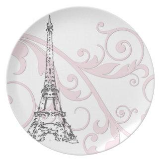 Volutas y torre Eiffel - rosa Plato De Cena