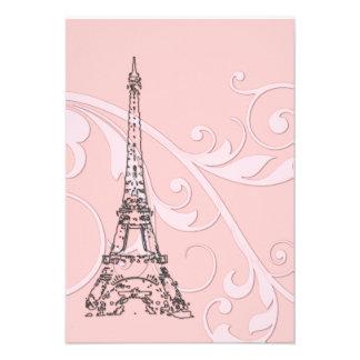 Volutas y torre Eiffel rosadas Anuncio