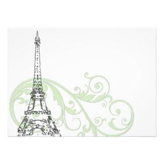 Volutas y torre Eiffel verdes Comunicados Personales