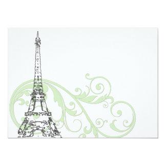 """Volutas y torre Eiffel verdes Invitación 5.5"""" X 7.5"""""""