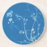 Volutes � flowers on blue reason - drink coaster