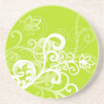 Volutes � flowers on green reason - beverage coasters