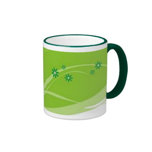 Volutes � flowers on green reason - coffee mug